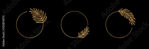Fototapeta Set of Logos with Golden tropical palm leaf. Round frame in trendy minimal linear style. Vector Emblem with Palm Branch. Template for logo cosmetics, beauty Studio, hairdresser, hand made, jewelry obraz