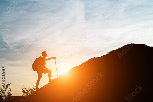 Obraz One man walked up the hill with his cane. - fototapety do salonu