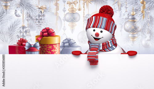 Cuadros en Lienzo  3d render of cute smiling snowman character and gift boxes, decorated Christmas tree, hanging ornaments, balls