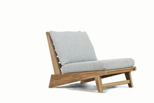Chair Natural Wood Single Seat With Rattan Material, Comfortable For Interior/exterior Furniture, Isolated On White Background