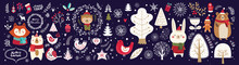 Christmas Vector Collection With Cute Fox, Bear, Bunny, Bird And Floral Elements On Dark Blue Background.