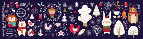 Obraz Christmas vector collection with cute fox, bear, bunny, bird and floral elements on dark blue background.  - fototapety do salonu