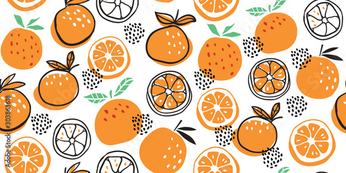 Fényképezés Stylish citrus oranges fruits seamless pattern