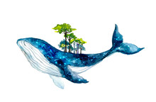Cute Watercolor Whale With Forest. Fantastic Illustration. FantasyHoliday Wildlife Illustration For Design, Print, Sticker Or Background. Spirit Animal