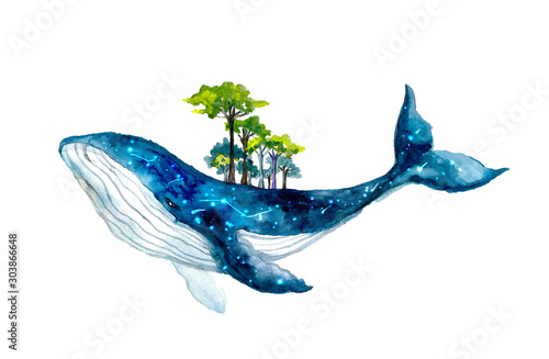 Fotografia, Obraz Cute watercolor whale with forest