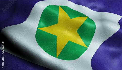 Fototapeta 3D Waving Brazil Province Flag of Mato Grosso Closeup View