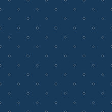 Simple Minimalist Vector Seamless Pattern. Abstract Deep Blue Geometric Texture. Subtle Minimal Background With Small White Floral Shapes, Tiny Diamonds. Repeat Design For Decor, Fabric, Wallpapers