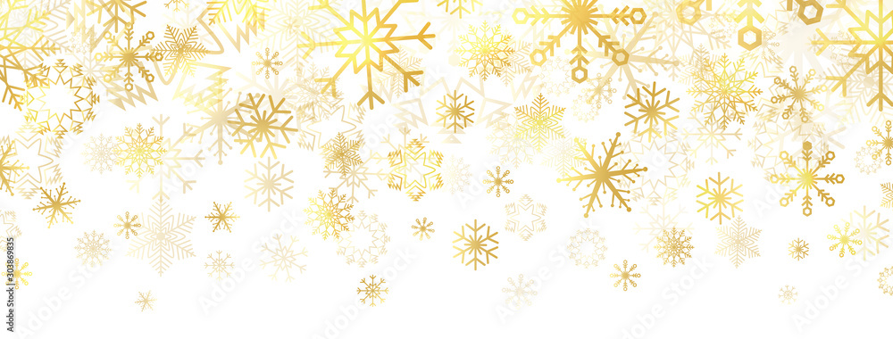 Fototapeta Gold snowflakes on white background. Golden snowflakes border with different ornaments. Luxury Christmas banner. Winter ornament for packaging, cards, invitations. Vector illustration