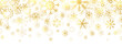 Gold snowflakes on white background. Golden snowflakes border with different ornaments. Luxury Christmas banner. Winter ornament for packaging, cards, invitations. Vector illustration