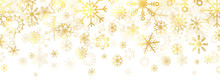 Gold Snowflakes On White Backg...