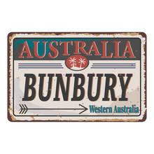Bunbury City Western Australia Retro Poster Travel Illustration.