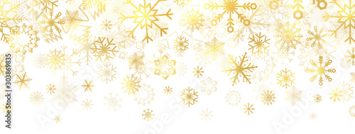 Obraz Gold snowflakes on white background. Golden snowflakes border with different ornaments. Luxury Christmas banner. Winter ornament for packaging, cards, invitations. Vector illustration - fototapety do salonu