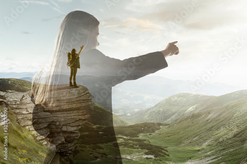 Silhouette of businesswoman with landscapes on background, double exposure Poster Mural XXL