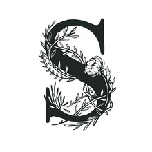 Capital Letter S Decorated With Flowers And Leaves. Vector Floral Logo Isolated On White. Botanical Monogram With Uppercase Letter S.