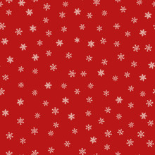 Snowflakes Seamless Pattern. Vector Texture With Small Hand Drawn White Snowflakes On Red Background. Winter Holidays Theme, Christmas And New Year Texture. Simple Repeat Design For Decor, Print, Web