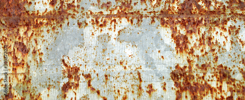 Fotografie, Tablou  Rusted white painted metal wall