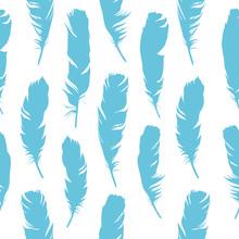 Seamless Blue Illustration Wit...