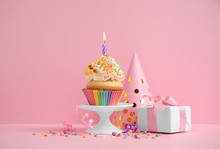 Composition With Birthday Cupcake On Pink Background