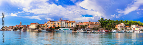 Travel in Croatia - beautiful Island Rab, panoramic view of old town and marine.