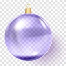 Violet Christmas Ball. Purple Xmas Glass Ball