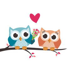 Valentine Owls In Love And A Bouquet Of Flowers