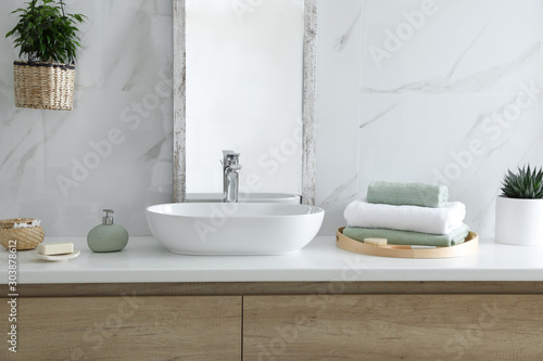 Modern bathroom interior with stylish mirror and vessel sink Wallpaper Mural