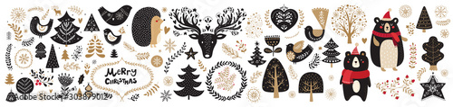 Obraz Vector Christmas illustration with  floral ornament and cute animals - fototapety do salonu