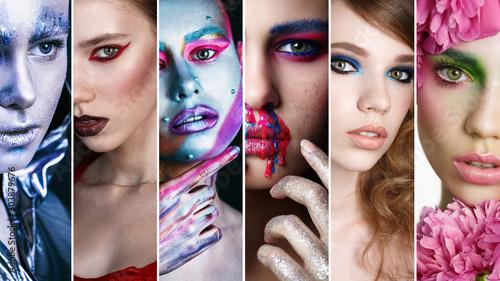 Fotografía  Collage Faces of Women With Fashion Creative Makeup