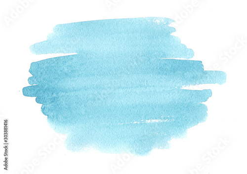 Obraz Blue abstract watercolor brush strokes painted background. Texture paper. - fototapety do salonu
