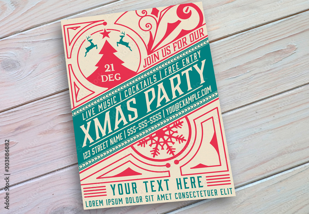 Fototapety, obrazy: Christmas Event Poster Layout