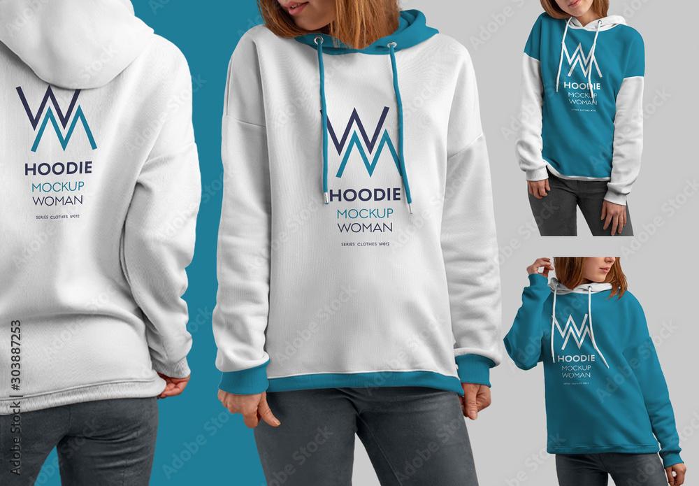 Fototapety, obrazy: 4 Hooded Sweatshirt Mockups