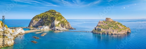 Poster Pays d Europe Panoramic collage with famous attractions of Ischia Island in Italy: Aragonese Castle, green mountain near fishing village Sant'Angelo and clear azure sea.