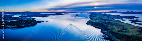 aerial panorama of loch linnhe on the west coast of scotland in the argyll regio Canvas Print