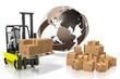 Forklift machine, international transport concept - 3D rendering