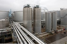 Palmoil Industry. Pipes And Silo's. Production Site. Factory. Industrial Area. Netherlands