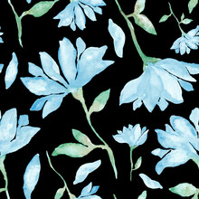 Big Blue Flowers Watercolor Painting - Hand Drawn Seamless Pattern With Blossom On Black Background