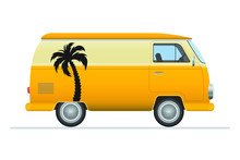 Vintage Van Vector Illustration Isolated On White Background.