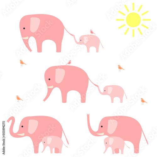 Photo  Elephants with baby elephants. Vector illustration.
