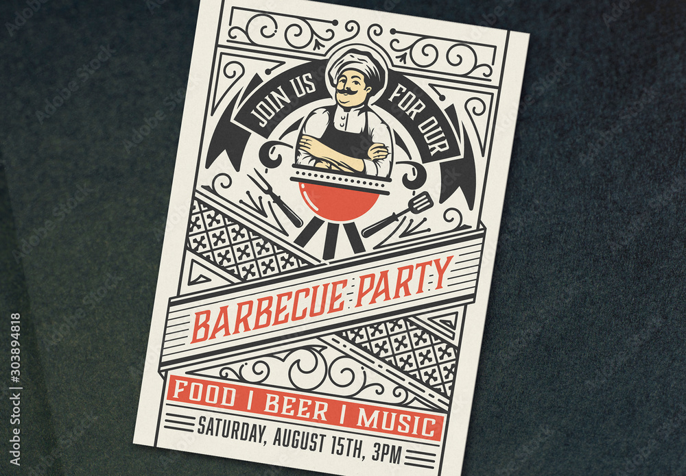 Fototapety, obrazy: Barbecue Party Invite Layout