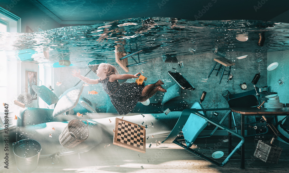 image of a little girl floating in the water - obrazy, fototapety, plakaty
