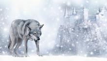 Portrait Of Fabulous Grinning Gray Wolf (canis Lupus) Ready To Attack On Winter Snow Background With Castle On Mountain And Snowflakes. Fantasy Christmas Card With Snowy Fairy Tale Landscape.