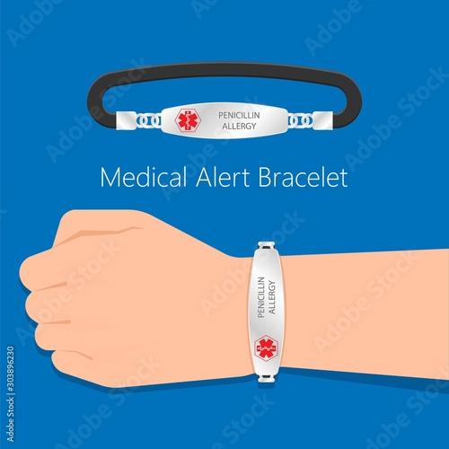 Fotografia Medical ID alert bracelets emergency conditions allergic contact Info wearable d