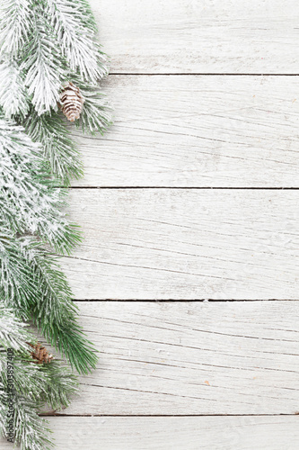 Fotobehang Vrouw gezicht Christmas card with fir tree