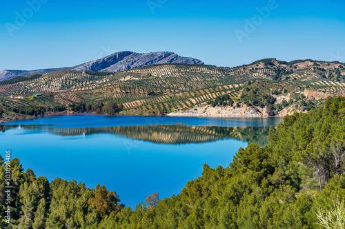 Photo  Lake Embalse del Guadalhorce, Ardales Reservoir, Malaga, Andalusia, Spain