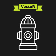 White Line Fire Hydrant Icon Isolated On Black Background. Vector Illustration