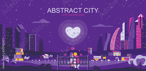 Aluminium Prints Violet Vector illustration in simple flat style - romantic city landscape with couple in love - abstract valentine day banner and love background with copy space for text - header image for landing page.