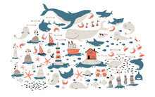 Big Sea Set. Childish Illustration In Simple Hand-drawn Scandinavian Style. Cute Animals And Fish. Whales, Sharks, Seagulls, Etc. Lighthouse, Nordic House, Ships.