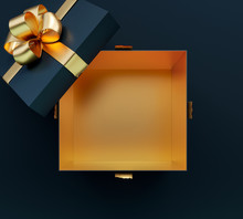 Opening Black Gift Box With Golden Shiny Bow On Black Background 3D Rendering