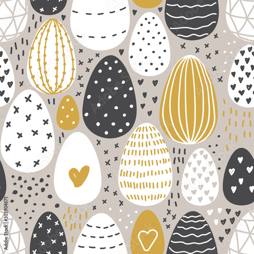Cute Scandinavian Easter Eggs collection seamless pattern background with hand drawn textures and decoration elements