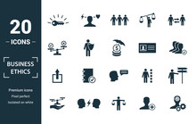 Business Ethics Icon Set. Include Creative Elements Csr, Trust, Morality, License To Work, Profitability Icons. Can Be Used For Report, Presentation, Diagram, Web Design